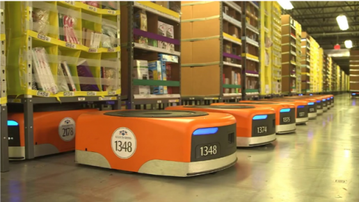 Robots now work alongside humans in Amazon warehouses.