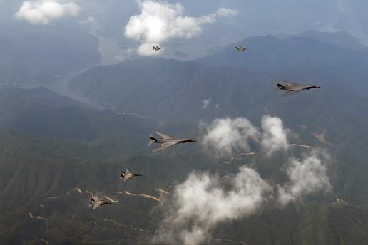 Guam based U.S. B-B1s based in Guam fly toward North Korea. U.S. Pacific Command via Flickr cc