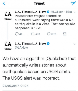 The L.A. Times tweets to apologize for an erroneous earthquake article generated by the Quakebot algorithm.